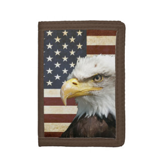 Vintage US USA Flag with American Eagle Tri-fold Wallet