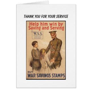 Vintage US War Saving Stamps Card