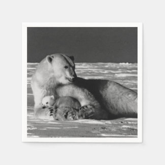 Vintage USA Alaska mother polar bear 1970 Paper Napkins