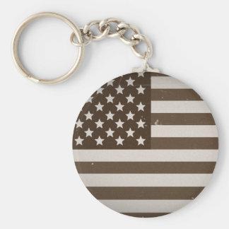 Vintage USA Flag Basic Round Button Keychain