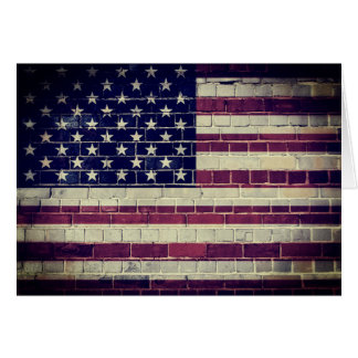 Vintage USA flag on a brick wall Card