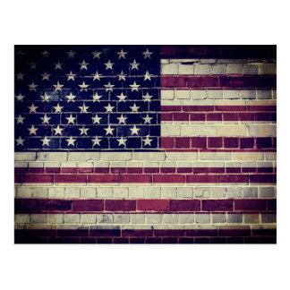 Vintage USA flag on a brick wall Postcard