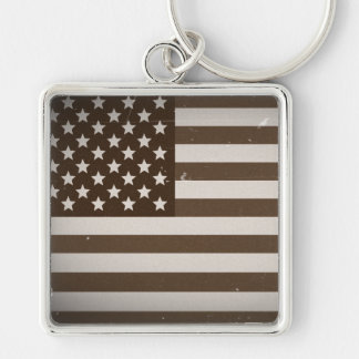 Vintage USA Flag Silver-Colored Square Keychain
