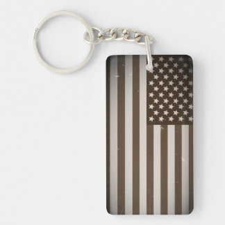 Vintage USA Flag Single-Sided Rectangular Acrylic Keychain