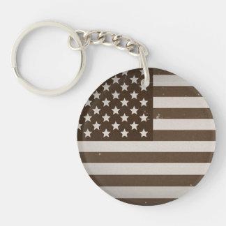 Vintage USA Flag Single-Sided Round Acrylic Keychain