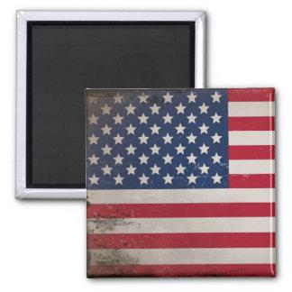 Vintage USA Flag Square Magnet