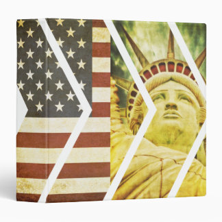 Vintage USA Flag Statue of Liberty Chevrons 3 Ring Binder