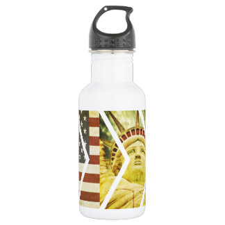 Vintage USA Flag Statue of Liberty Chevrons 532 Ml Water Bottle