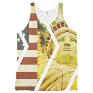 Vintage USA Flag Statue of Liberty Chevrons All-Over-Print Tank Top