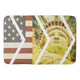 Vintage USA Flag Statue of Liberty Chevrons Bath Mat