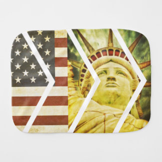 Vintage USA Flag Statue of Liberty Chevrons Burp Cloth
