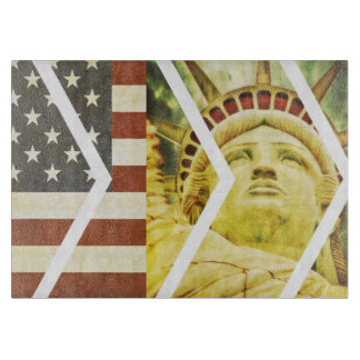 Vintage USA Flag Statue of Liberty Chevrons Cutting Board
