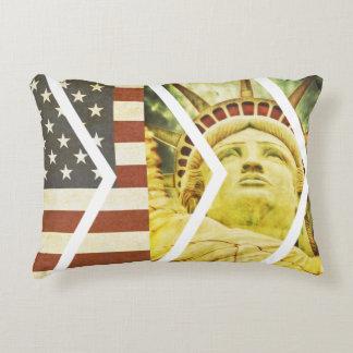 Vintage USA Flag Statue of Liberty Chevrons Decorative Pillow