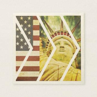 Vintage USA Flag Statue of Liberty Chevrons Disposable Napkin