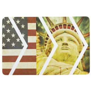 Vintage USA Flag Statue of Liberty Chevrons Floor Mat