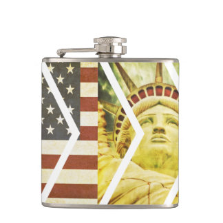 Vintage USA Flag Statue of Liberty Chevrons Hip Flask