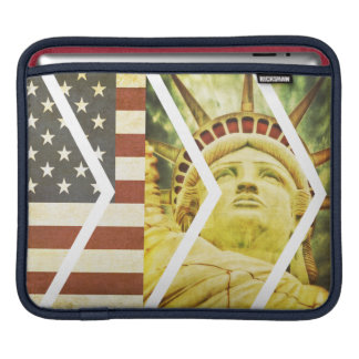 Vintage USA Flag Statue of Liberty Chevrons iPad Sleeve