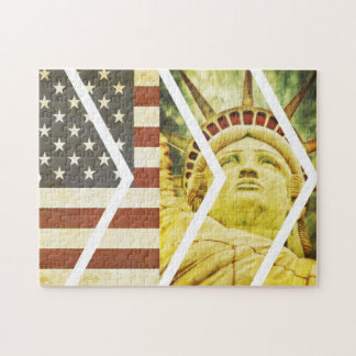 Vintage USA Flag Statue of Liberty Chevrons Jigsaw Puzzle