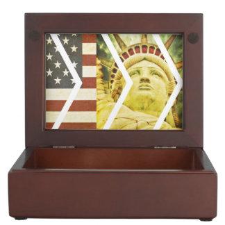 Vintage USA Flag Statue of Liberty Chevrons Keepsake Box