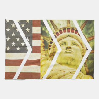 Vintage USA Flag Statue of Liberty Chevrons Kitchen Towel