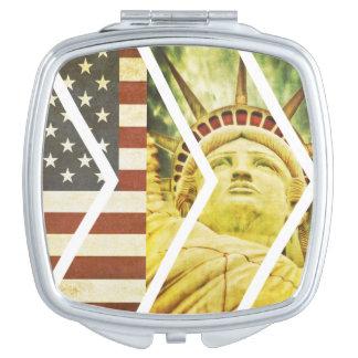 Vintage USA Flag Statue of Liberty Chevrons Makeup Mirror