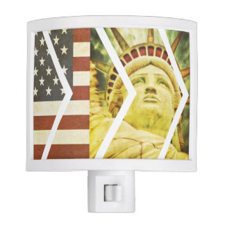 Vintage USA Flag Statue of Liberty Chevrons Nite Light