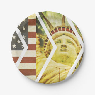 Vintage USA Flag Statue of Liberty Chevrons Paper Plate