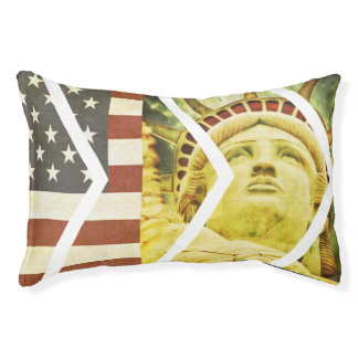 Vintage USA Flag Statue of Liberty Chevrons Pet Bed