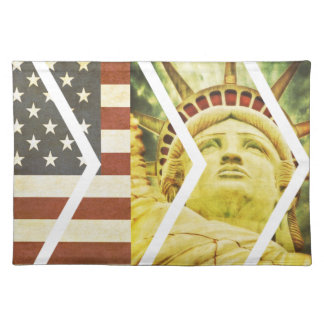 Vintage USA Flag Statue of Liberty Chevrons Placemat