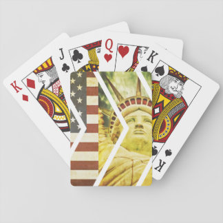 Vintage USA Flag Statue of Liberty Chevrons Playing Cards
