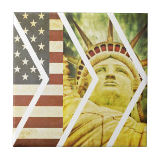 Vintage USA Flag Statue of Liberty Chevrons Tile