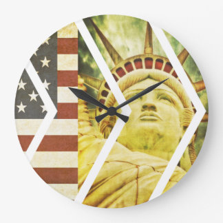 Vintage USA Flag Statue of Liberty Chevrons Wallclocks