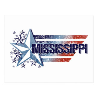 Vintage USA Flag with Star – Mississippi Postcard