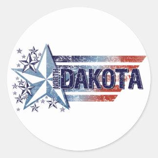 Vintage USA Flag with Star – North Dakota Round Sticker