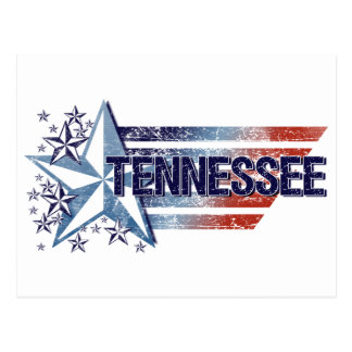Vintage USA Flag with Star – Tennessee Postcard