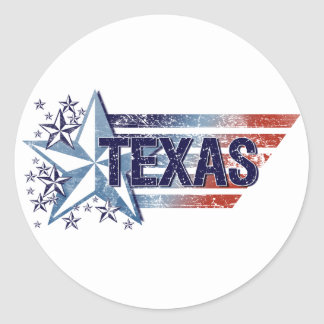 Vintage USA Flag with Star – Texas Classic Round Sticker