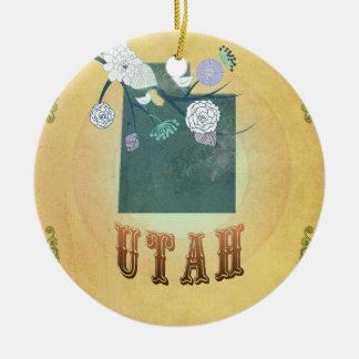 Vintage Utah State Map- Passion Fruit Yellow Round Ceramic Ornament