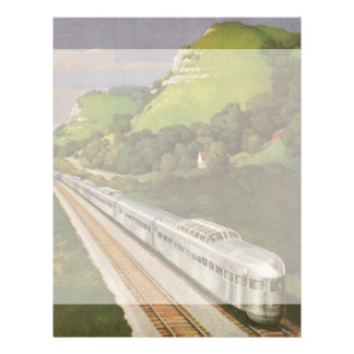 Vintage Vacation by Train, Locomotive in Country Customized Letterhead