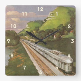 Vintage Vacation by Train, Locomotive in Country Wallclock
