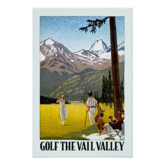 Vintage Vail Valley Golfing Travel Poster
