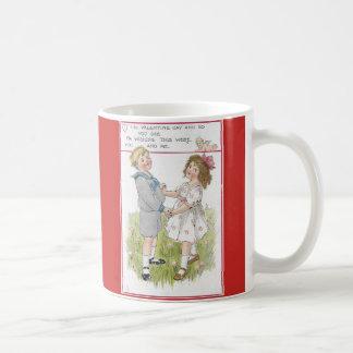 Vintage Valentine 1915 Dancing Boy and Girl Coffee Mug
