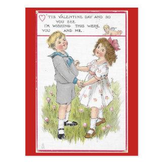 Vintage Valentine 1915 Dancing Boy and Girl Postcard