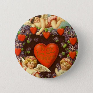Vintage Valentine 3 Cupids And Red Hearts 2 Inch Round Button