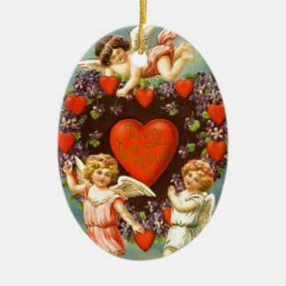 Vintage Valentine 3 Cupids And Red Hearts Ceramic Ornament