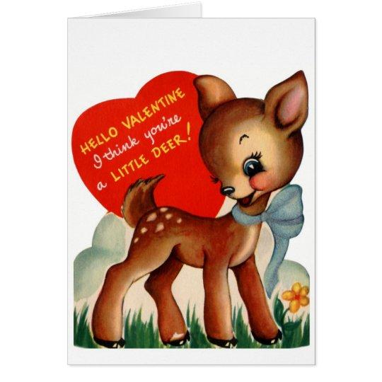 Vintage Valentine Baby Deer Card