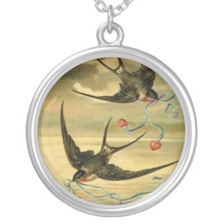 Vintage Valentine Barn Swallows Silver Plated Necklace