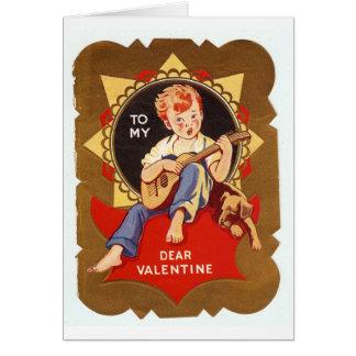 Vintage Valentine Boy With Guitar Card
