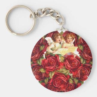 Vintage Valentine Card Heart Roses Cupid Cherubs Basic Round Button Keychain