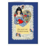 Vintage Valentine Card with Bluebirds