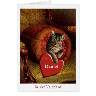 Vintage Valentine Cat Secret Admirer Greeting Card